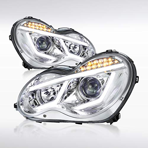 Autozensation For Mercedes Benz W203 C-Class 4matic Luxury Sport LED Strip Signal Clear Projector Headlights Pair ()