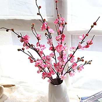 Amazon inverlee artificial fake flowers cherry blossom plum inverlee artificial fake flowers cherry blossom plum floral wedding bouquet home decor pink mightylinksfo