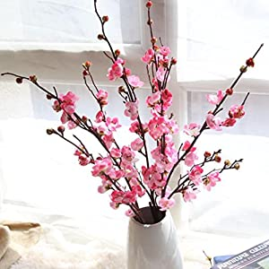 Inverlee Artificial Fake Flowers Cherry Blossom Plum Floral Wedding Bouquet Home Decor (Pink) 32