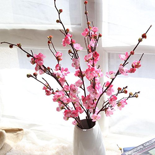 Inverlee Artificial Fake Flowers Cherry Blossom Plum Floral Wedding Bouquet Home Decor (Pink) -