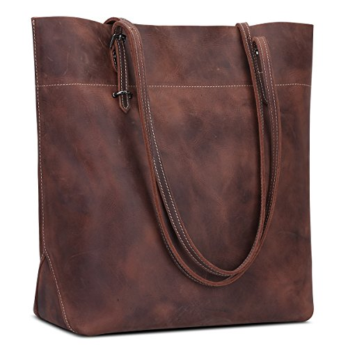 Big Shoulder S Horse Brown Leather Bag Genuine Handbag ZONE Leather Crazy Vintage Capacity Large Tote rXO8wXq