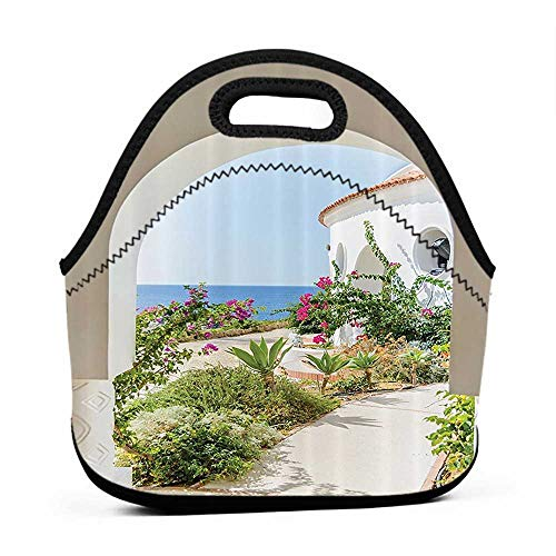 (Tote Waterproof Outdoor Mediterranean Tuscan Island Decor Collection,Flowers Garden Old Architectural Chic House Ancient Explorer Scenery,art of lunch bag for women danny ivan )
