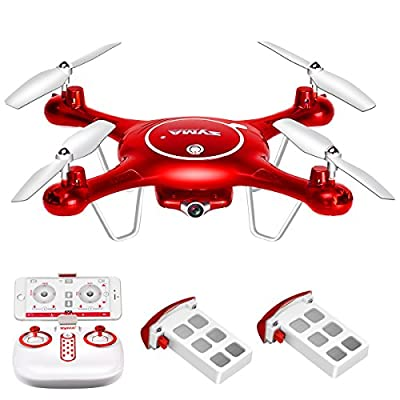 DoDoeleph Syma X5UW Wifi FPV HD Camera Quadcopter Drone with Flight Plan Route App Control and Altitude Hold Function With Extra Battery