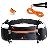 X Fit Factor Running Hydration Belt - Waist Bag for Runners Women and Men - Adjustable Fuel Belt with 10 Ounce Water Bottles - Phone Holder Waist Pack with Zip Pocket - Run Pouch for Hiking Climbing