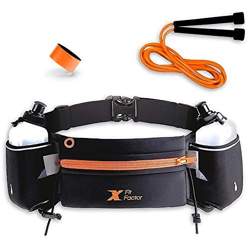 Running Hydration Belt - Waist Bag for Runners Women and Men - Adjustable Fuel Belt with 10 Ounce Water Bottles - Phone Holder and Waist Pack with Large Zip Pocket - Run Pouch for Hiking Climbing