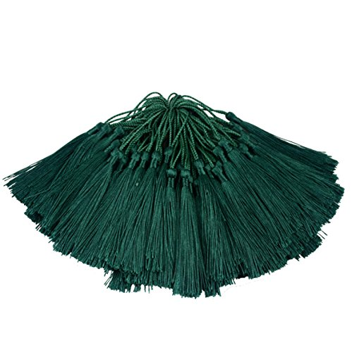 (100pcs 13cm/5 Inch Silky Floss Bookmark Tassels with 2-Inch Cord Loop and Small Chinese Knot for Jewelry Making, Souvenir, Bookmarks, DIY Craft Accessory (Dark Green))