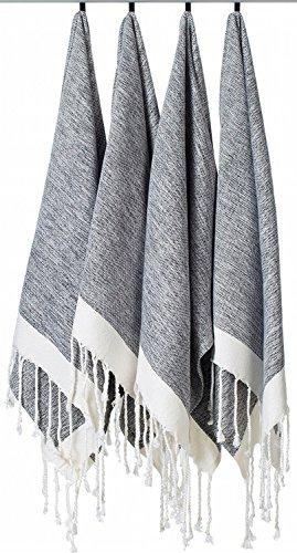 LaModaHome Turkish Towel Set of 4, Hand Towel, Bath - Towel Striped Linen