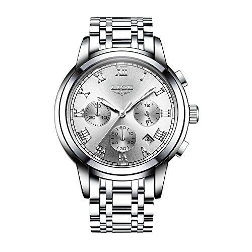LIGE 9810L Men's Watches Movement Business Waterproof Chronograph Full Steel Quartz Luminous Watch (White) by LIGE