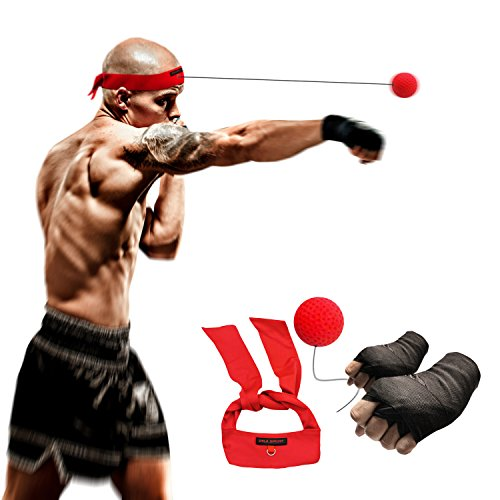 Boxing Fight Ball Speed Reflex Punch Equipment Kit + Handwraps for training to improve attention with elastic headband and string,good for boxing,Thai,MMA,martial arts,UFC,combat sports and fitness