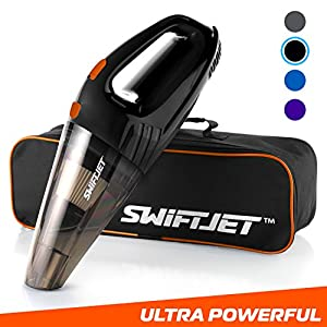 """SwiftJet Car Vacuum Cleaner - High Powered 4 KPA Suction Handheld Automotive Vacuum - 12V DC 120 Watt - 14.5"""" Cord - Multiple Attachments and BONUS filter included (Black)"""