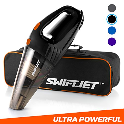 SwiftJet Car Vacuum Cleaner – High Powered 4 KPA Suction Handheld Automotive Vacuum – 12V DC 120 Watt – 14.5″ Cord – Multiple Attachments and BONUS filter included (Black)