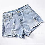 Loose Wide-Legged Denim Shorts Women's New Worn Denim Shorts and Retail Light Gray AB L