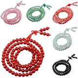 SUNYIK 108 Stone Wrist Mala Bracelet Tibetan Buddhist Prayer Bead