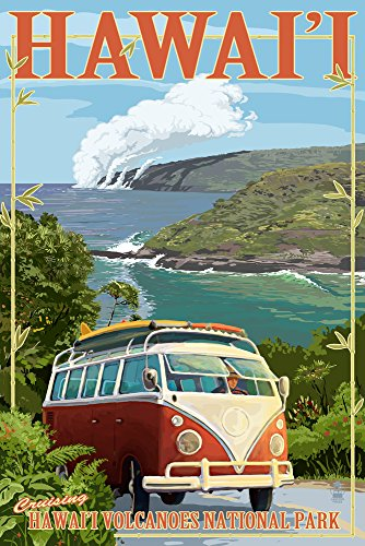 Hawaii Volcanoes National Park, Hawaii - Camper Van (12x18 Art Print, Wall Decor Travel Poster) ()