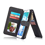 RAYTOP® 15-Slot Card Holders, Samsung Galaxy S6 Edge Plus Case, Inside Cover Removable from Wallet, Button + Zip + Magnet Closure, Multiple Pockets for Money / ID Cards / Driving License, Retro Black