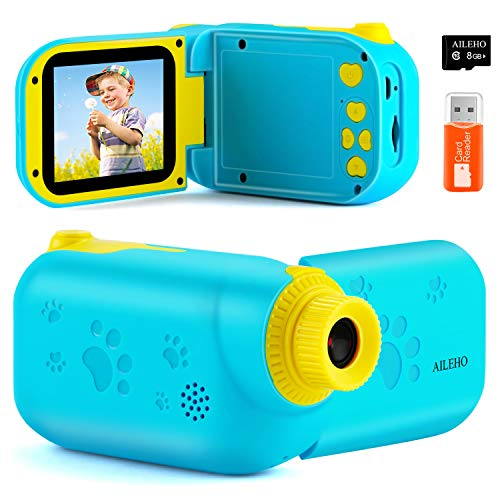 AILEHO Kids Camera for Boys Digital Video Camera for Kids Birthday Children Toys 3 4 5 6 7 8 9 Years Old Toddler Camera 8M 1080P with 8GB Card Game Camera Rechargeable IPS 2.4
