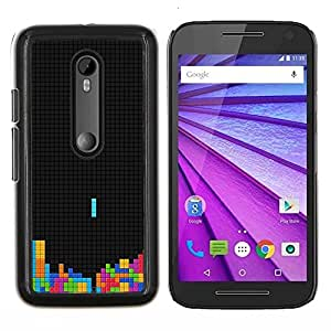 Colorido Tetr1s Juego- Metal de aluminio y de plástico duro Caja del teléfono - Negro - Motorola Moto G (3rd gen) / G3