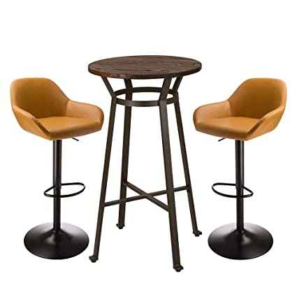 Sensational Glitzhome Rustic Steel Bar Table Round Wood Top Dining Room Pub Table Furniture Yellow Stool Table Andrewgaddart Wooden Chair Designs For Living Room Andrewgaddartcom