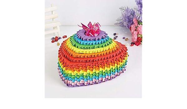 Amazon Com Rainbow Color Large 3d Origami Folded Paper Scrapbooking