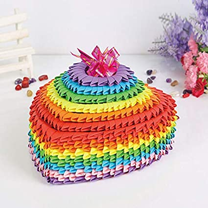 Amazon Com Rainbow Color Large 3d Origami Folded Paper
