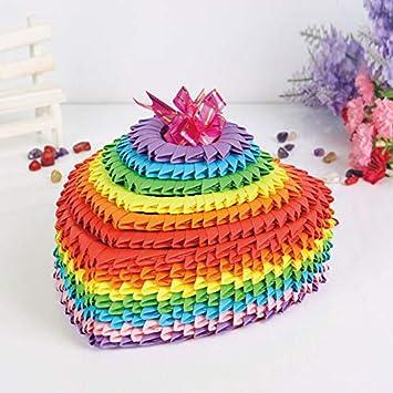 Color del arco iris Grande en 3D Origami Plegado de Papel de Scrapbooking Corazón de la