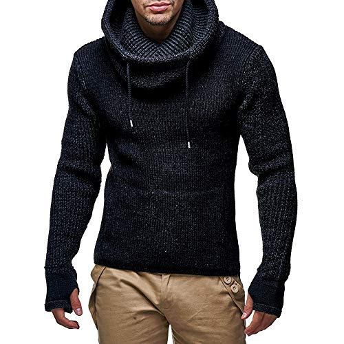 Respctful ♪☆ Mens Long Sleeve Pullover Knitted Sweater High Collar Sweatshirt Warm Tops with Thumb Holes
