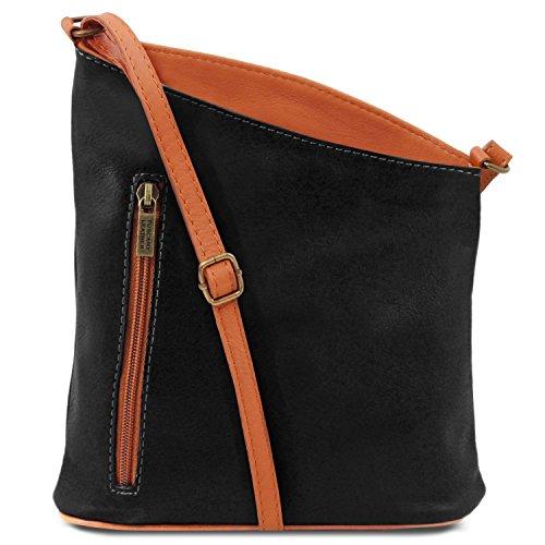 Tuscany Leather TL Bag Bolsillo unisex con bandolera en piel suave Bordeaux Bolsos en piel Negro