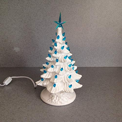 Vintage White Ceramic Christmas Tree.Christmas Decoration Vintage Style Ceramic Christmas Tree 11 Inches Bright White Glaze Blue Star Frozen Tree