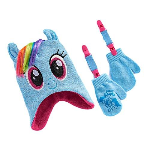 Berk Fashions My Little Pony Rainbow Dash Hat & Mittens Set Toddler Winter Knit Hat w/Mitten ()