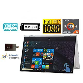 """2020 HP Envy x360 2in1 15.6"""" FHD Touchscreen Laptop Computer, AMD Ryzen 5 4500U 6 cores (up to 4GHz, Beat i5-9300H), 8GB RAM, 256GB PCIe SSD, Backlit-KB, FP Reader, Win10H, with E.S 32GB USB Card"""