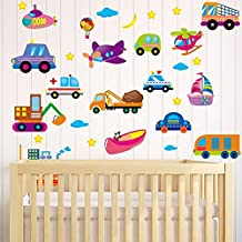 Cartoon Cars Planes Ships Ambulance Moon Stars Wall Decal Home Sticker PVC Murals Vinyl Paper House Decoration Wallpaper Living Room Bedroom Kitchen Art Picture DIY for Children Teen Senior Adult Nursery Baby