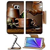 Liili Premium Samsung Galaxy Note 5 Flip Pu Leather Wallet Case horizontal photo of the clay teapot tea flow in cup on brown background ceremony Note5 Image ID 22957292