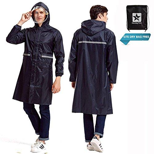 Aoteng Star Rain Poncho Long Reflective Waterproof Raincoat with Hood for Men Adult by Aoteng Star