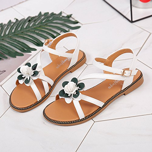 Women's Flowers Brown Sandals Light Flowers Sandals New Toes Summer Casual XKNSLX Women's Sandals q57v00
