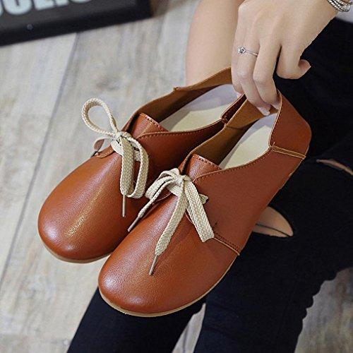Scarpe Da Donna Amylate Slip On Comfort Shoes Lace Up Flat Shoes Mocassini Marrone
