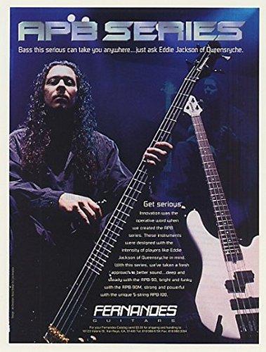 1996 Queensryche Eddie Jackson Fernandes APB Bass Guitar Original Print Ad (45576)