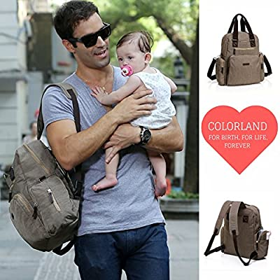 Baby Diaper Backpack With Changing Pad, Large Storage Organizer Includes Built In Baby Wipe Pocket And Adjustable Shoulder To Stroller Strap, For Both Mom and Dad, Khaki Color