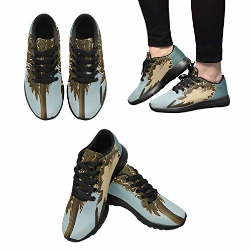 Interestprint Femmes Jogging Running Sneaker Léger Aller Confort De Marche Facile Sport Chaussures De Course Deux Cerfs En Forêt Style Cartoon Multi 1