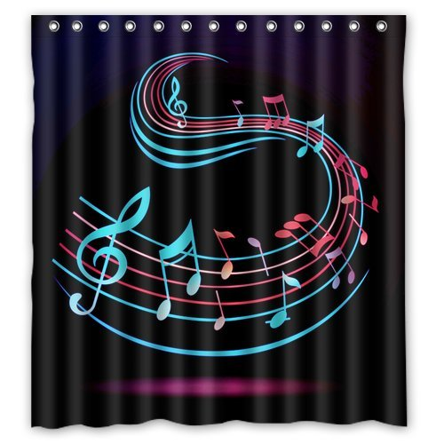Amazon.com: Colorful Abstract Music Clef Wallpaper Shower Curtain ...