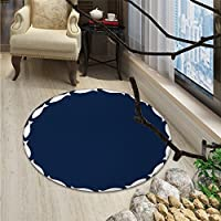 Navy Blue Round Area Rug Ocean Aqua Navy Themed School of Cute Fish Swimming in a Circle PrintOriental Floor and Carpets Navy Blue and White