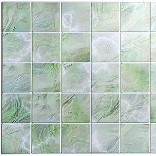 Dundee Deco PG7045 All Shades of Green Faux Pearl Squares, 3.2 ft x 1.6 ft, PVC 3D Wall Panel, Interior Design Wall Paneling Decor, 5 sq. ft.