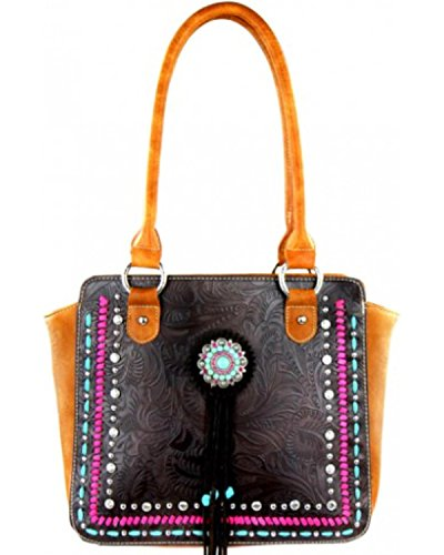 Montana West Women's Concho Collection Handbag Brown One Size