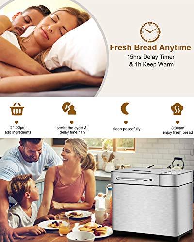 KBS MBF-013 Maker Machine, Gluten Breadmaker Fruit&Nut Dispenser, Menus 3 Colors LCD Interface, Stainless