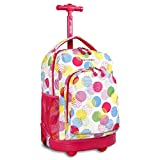 Kids Pink Yellow Blue Speckles Geometric Pattern Rolling Backpack, Beautiful Friendly Fun Big Dots Print Suitcase, Girls School Duffel with Wheels, Wheeling Luggage, Lightweight Softsided, Fashionable