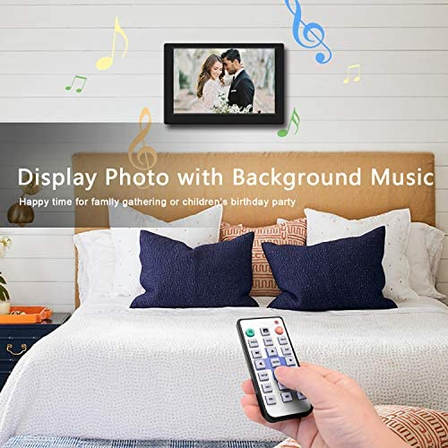 Digital Photo Frame, 10 inch Digital Picture Frame HD 1280×800 16 10 Full IPS Display Photo Music Video Calendar, Auto On Off Timer, Background Music Support 32GB USB Drives SD Card,Remote Control