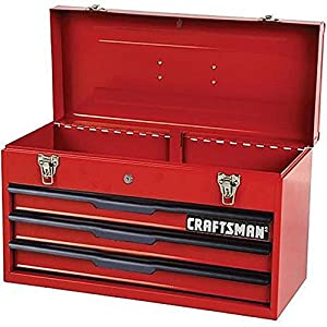 "Craftsman 21"" 3-Drawer Ball Bearing Slides Portable Toolbox Red"