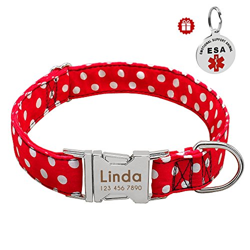 Didog Polka Dot Personalized Engraved Dog Collar,Soft Nylon with Stainless Steel Quick Release Buckle, Dot Pattern Dog Collar with Nameplate, for Small Medium Dogs,Red,M Size