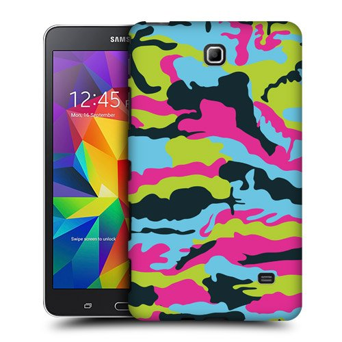 Head Case Designs Blue Pink and Green Colourful Camouflage Protective Snap-on Hard Back Case Cover for Samsung Galaxy Tab 4 7.0 T230 T231 T235
