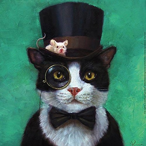 (Buyartforless Tuxedo Cat with Mouse in Hat by Lucia Heffernan 12x12 Steampunk Art Print Poster Humor)