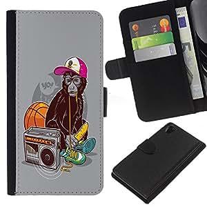 KingStore / Leather Etui en cuir / Sony Xperia Z2 D6502 / Divertido Swag de Mono Mono